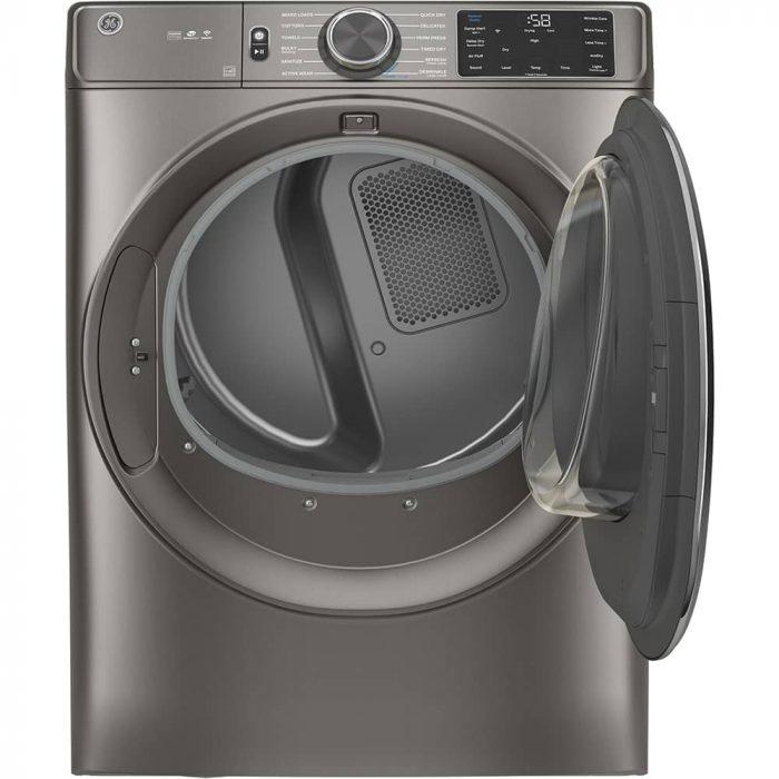 GE GFD65ESMNSN 7.8 Cu. Ft. Capacity Dryer Satin Nickel OPEN
