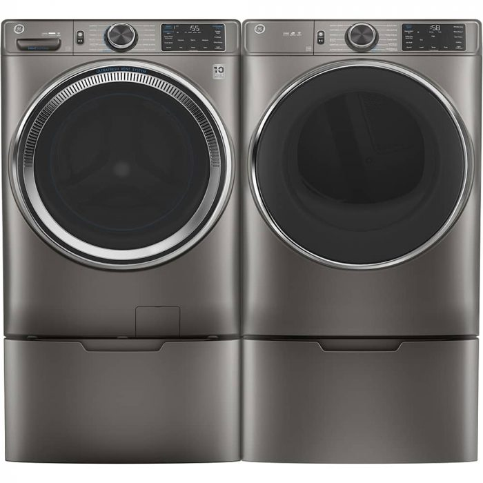 GE GFD65ESMNSN 7.8 Cu. Ft. Capacity Dryer Satin Nickel PAIR