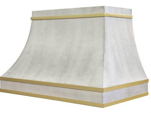 Custom Range Hood In Brushed White and Brass