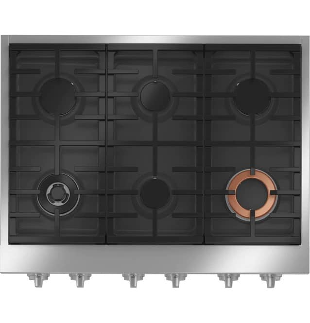 Cafe CGU366P2TS1 Gas Rangetop Stainless Steel Top view