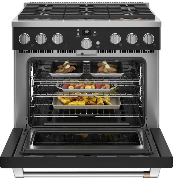 Cafe CGY366P3TD1 36 Inch Gas Range Open