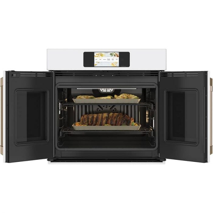 Cafe CTS90FP2NS1 30 Inch Built-In French-Door Wall Oven MATTE WHITE Open