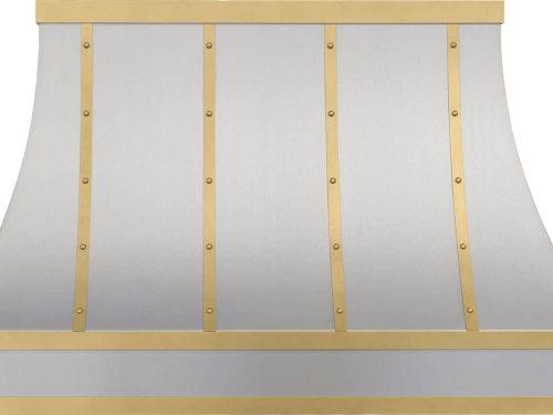 Custom Range Hood In Steel And Satin Gold