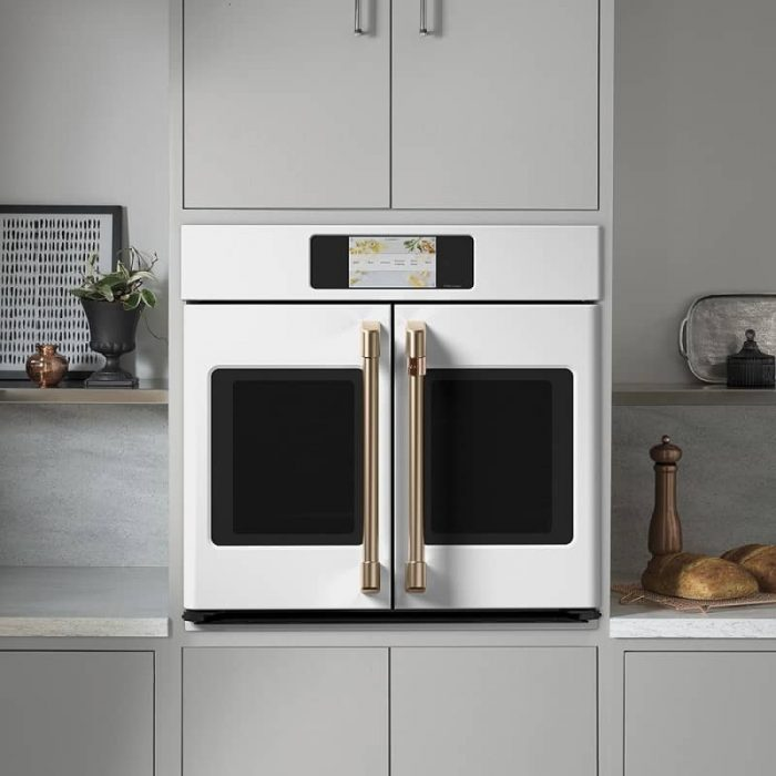 Cafe CTS90FP4NW2 30 Inch Built-In French-Door Smart Single Convection Wall Oven Matte White