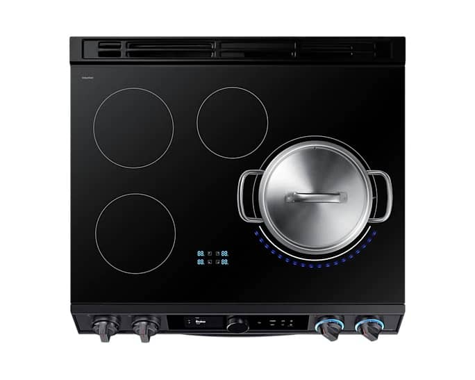 Samsung NE63T8911SG Smart Induction Range In Black Stainless Steel Top View
